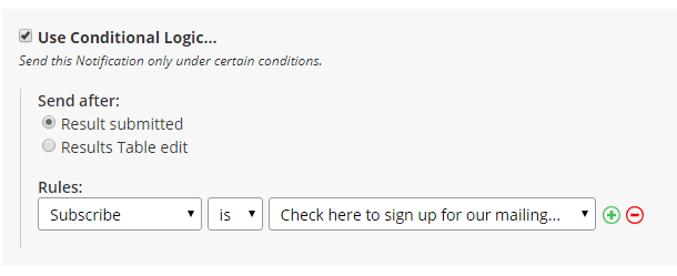 Formsite opt-in conditional logic
