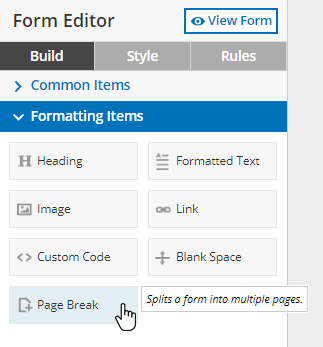 Formsite page rules page break