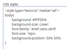 Formsite style settings css