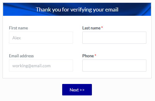 Formsite email address verification populated form