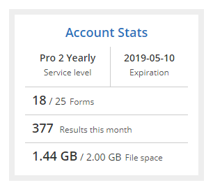 Formsite file space limit account stats