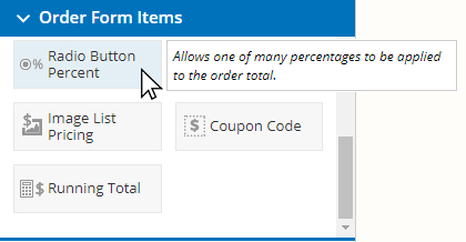 Formsite add transaction fees radio button percent