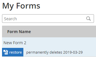 Formsite deleted forms restore