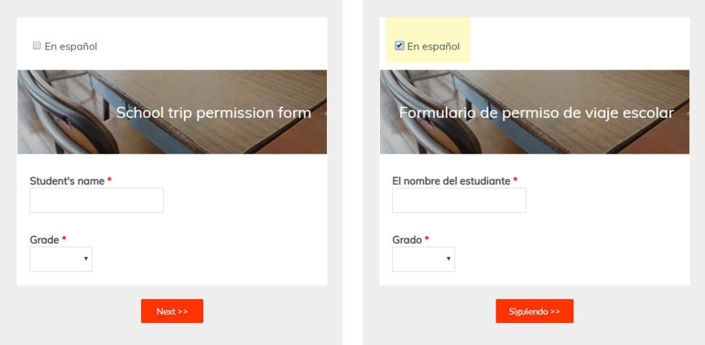 Formsite multilingual forms