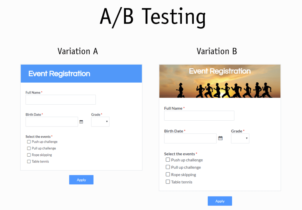 Formsite A/B Testing
