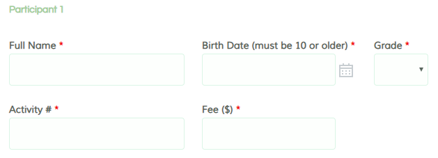 Formsite registration form templates contact