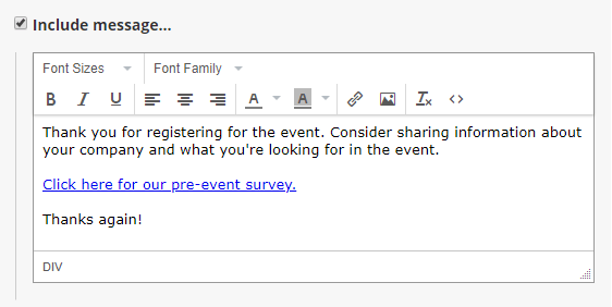 Formsite event forms email survey