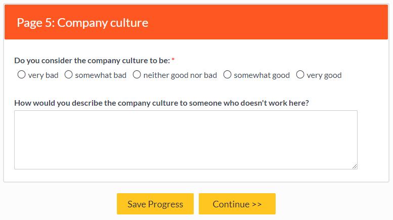 Formsite survey question