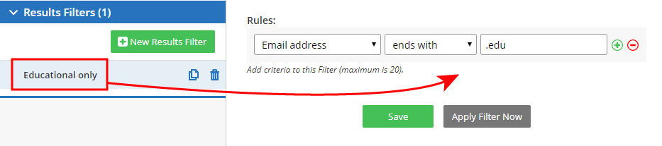 Formsite filtering data results filter