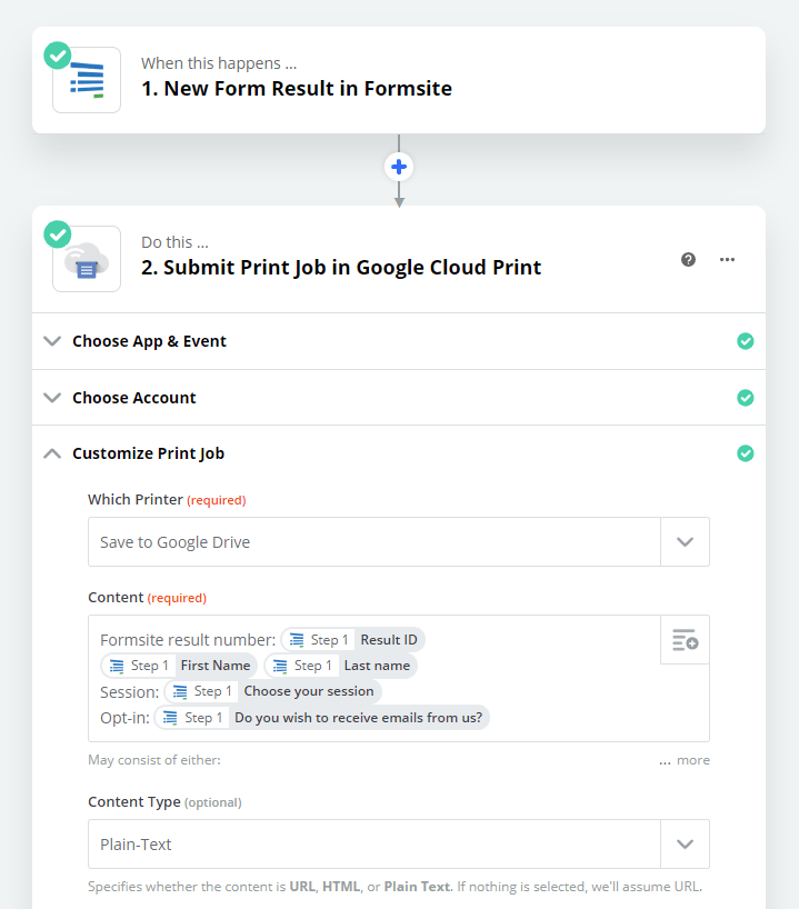 Formsite Google Drive Zap settings