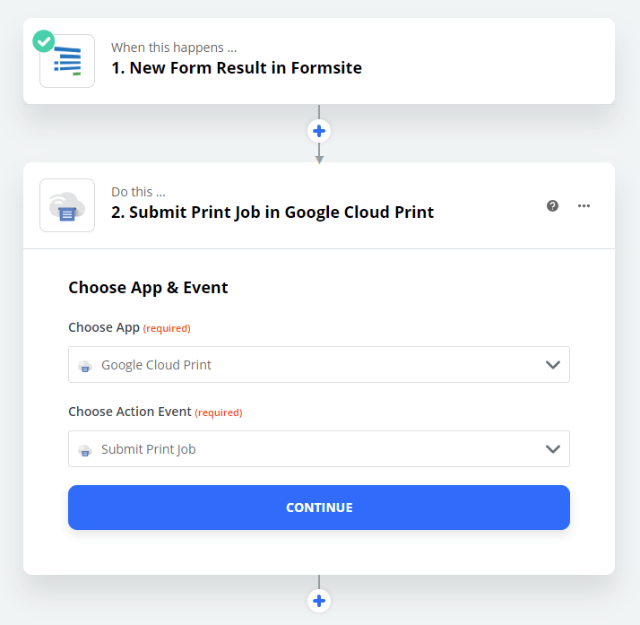 Formsite save form results to Google Drive Zap