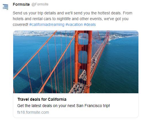 Formsite social media sharing example