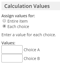 Formsite assign scores options