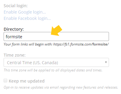Formsite form url account directory