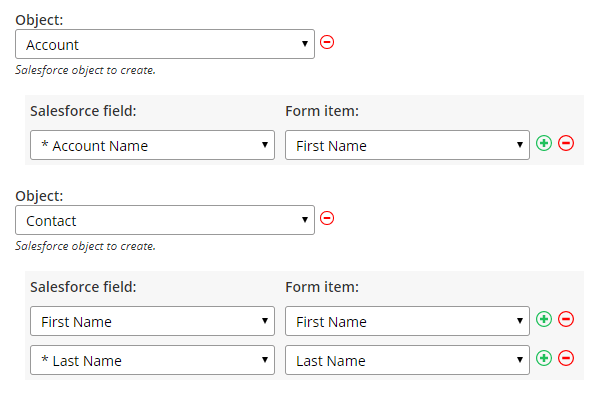 Formsite Salesforce integration multiple objects