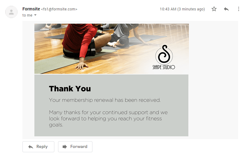 Formsite send email after successful payments