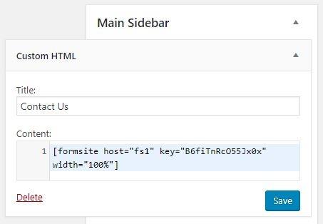 Formsite WordPress plugin sidebar
