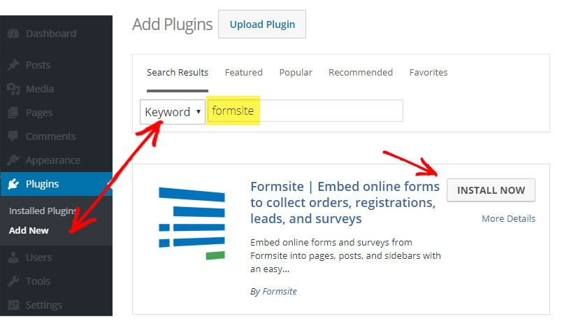 Formsite WordPress plugin