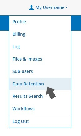 Formsite data retention menu