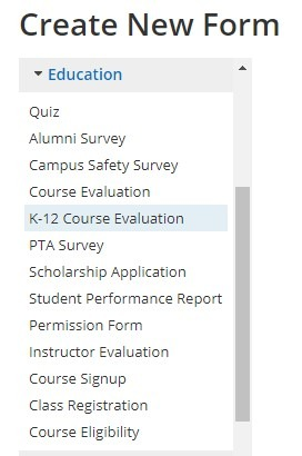 Formsite education form templates list