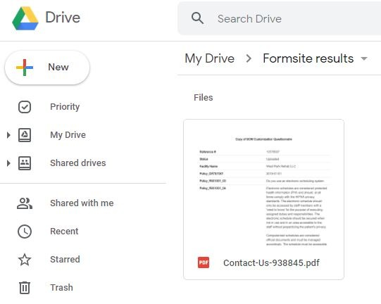 Formsite send results to Google Drive sample
