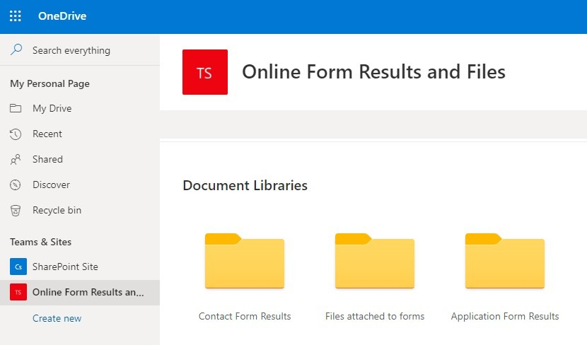 Formsite send results to OneDrive for Business