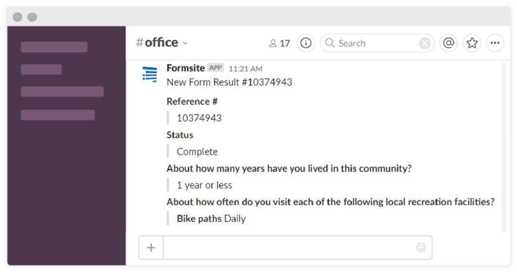 Formsite Slack integration example