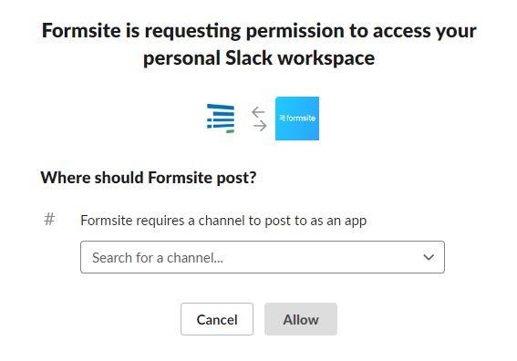 Formsite Slack integration permissions