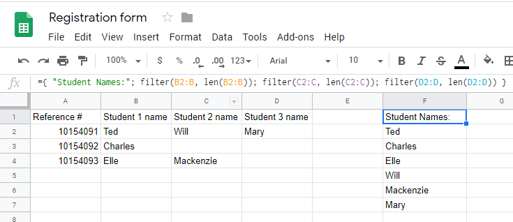 Formsite Google Sheets tips rows to columns