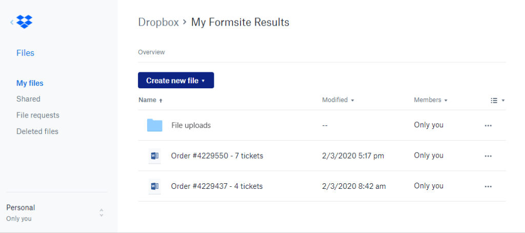 Formsite send results to Dropbox