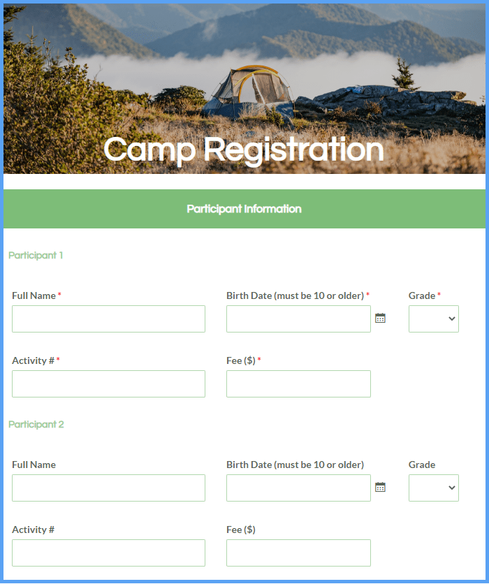 Activity Registration Form Templates