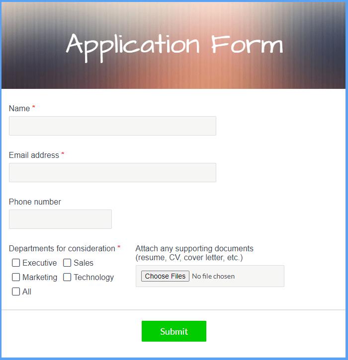 Application Form Templates
