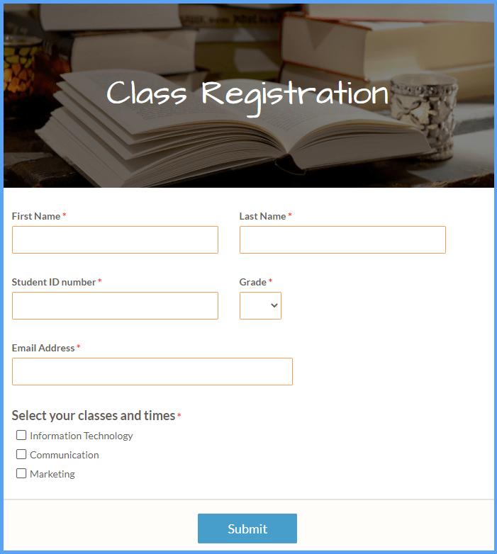 Class Registration Form Templates