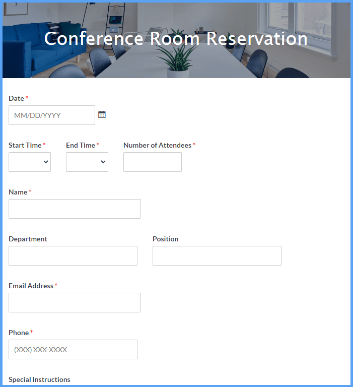 Conference Room Reservation Form Template Formsite