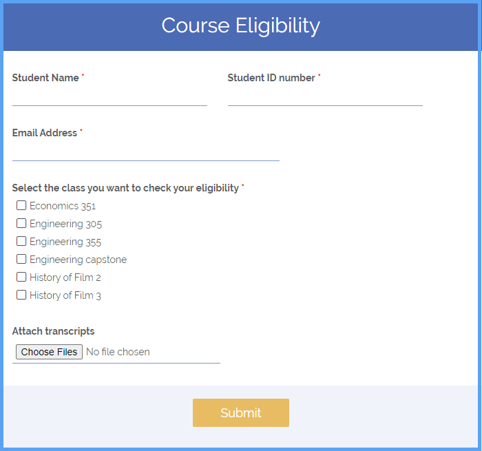 Course Eligibility Form Templates