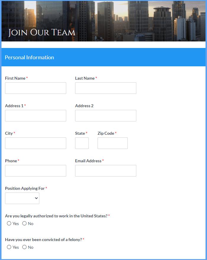 Employment Application Templates