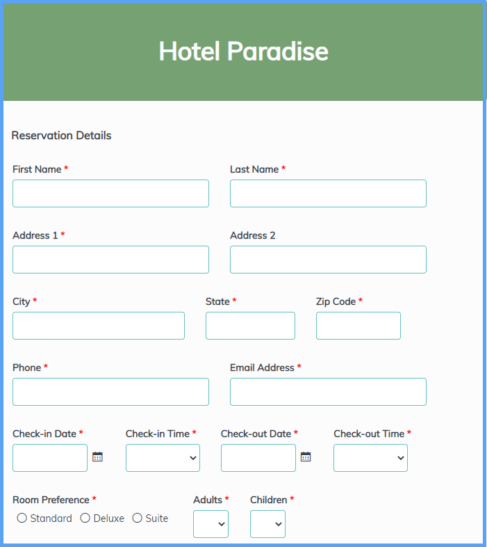 Hotel Reservation Form Templates
