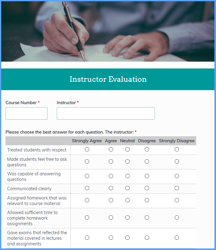 Instructor Evaluation Templates