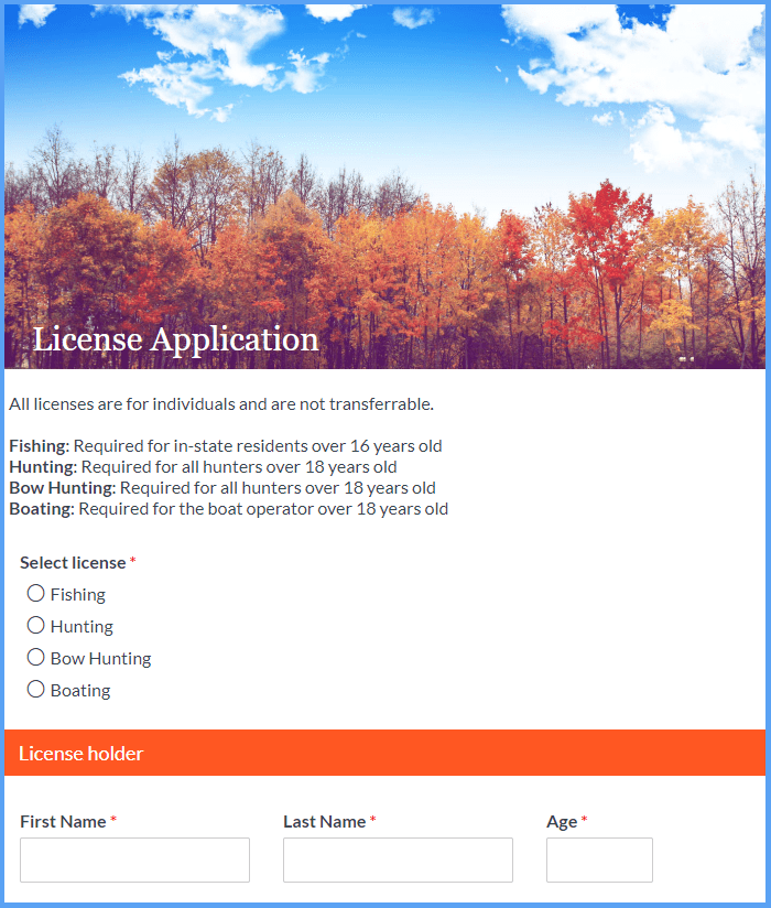 License Application Templates