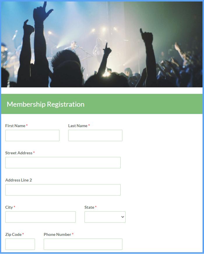 Membership Registration Form Templates