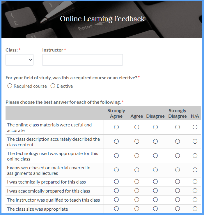 Online Learning Feedback Form Templates