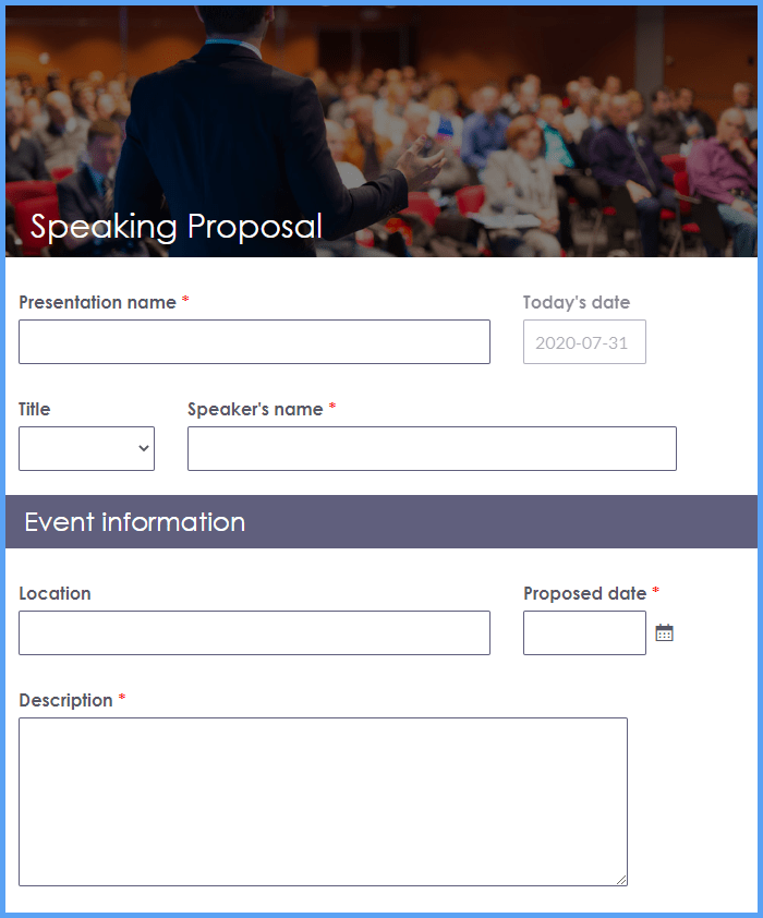 Speaking Proposal Form Templates