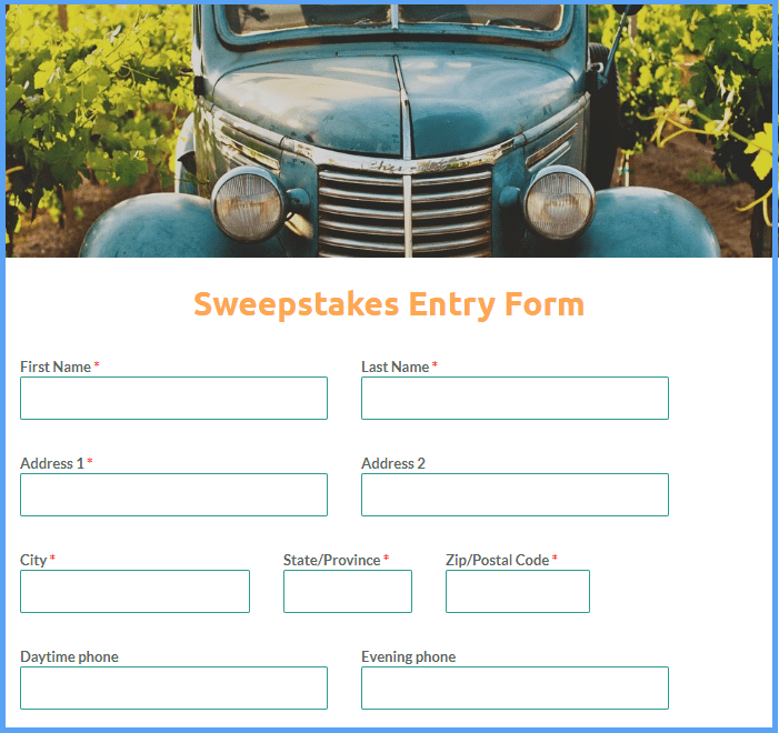 Sweepstakes Entry Form Templates