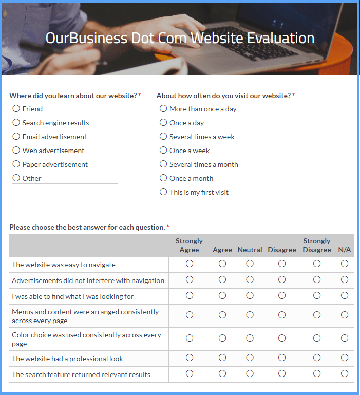 Website Evaluation Survey Form Template | Formsite