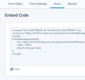 Formsite integration tools embed code