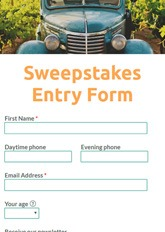 Sweepstakes Entry Form
