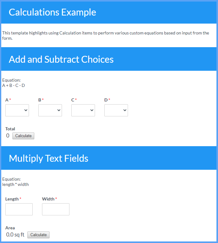 Calculations Example Templates