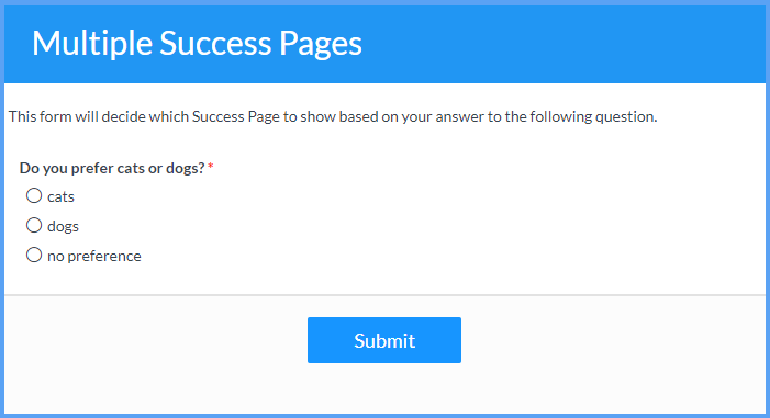 Multiple Success Pages Example Templates