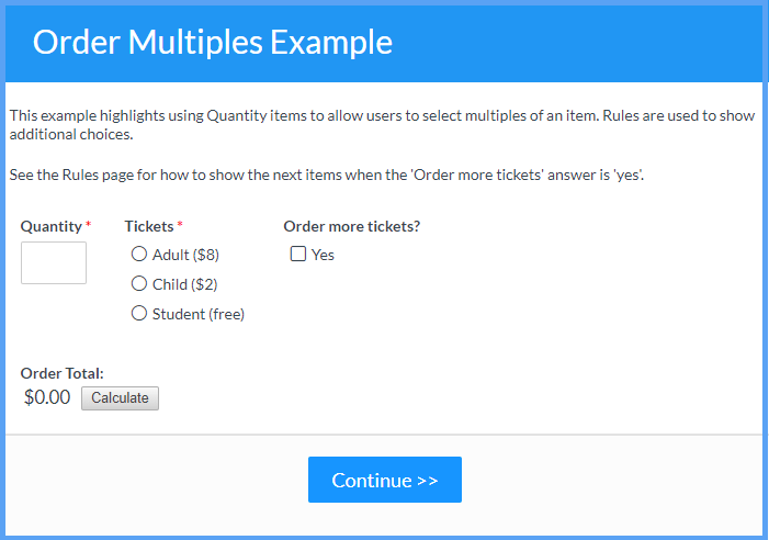 Order Multiples Example Templates