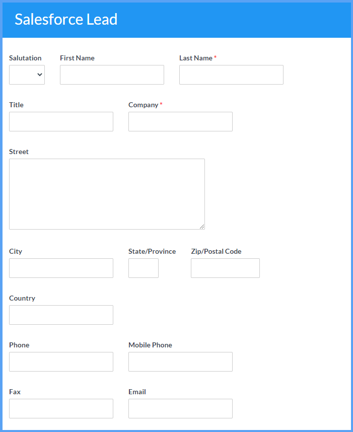 Salesforce Lead Example Templates